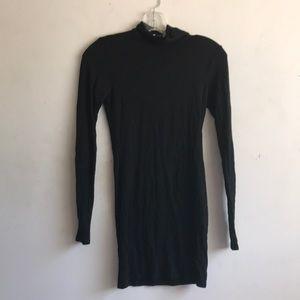 Tobi Black Bodycon Turtleneck Dress